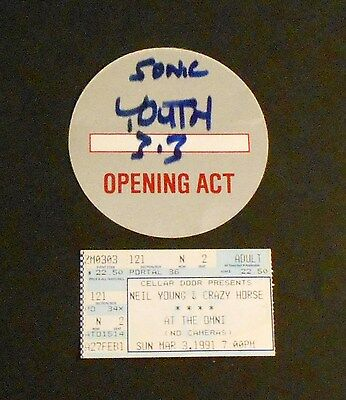 NEIL YOUNG SONIC YOUTH atlanta MARCH 3 1991 orig TICKET + unused BACKSTAGE PASS
