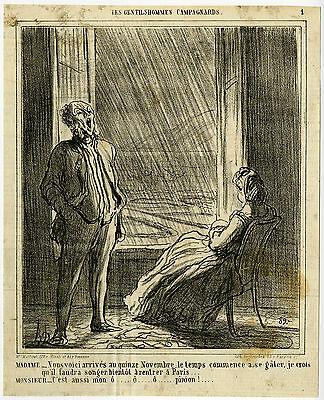Antique Print-GENTLEMAN-LADY-RAIN-COUNTRYSIDE-Daumier-1864
