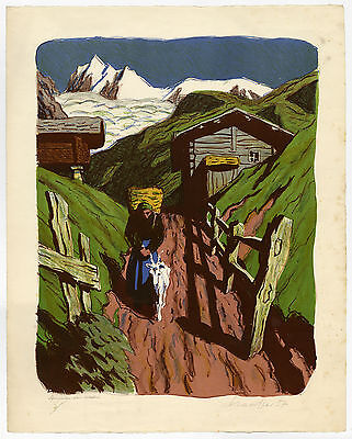 Antique Print-LANDSCAPE-ALETSCH GLACIER-WALLIS-SWITZERLAND-Stauffer-1957