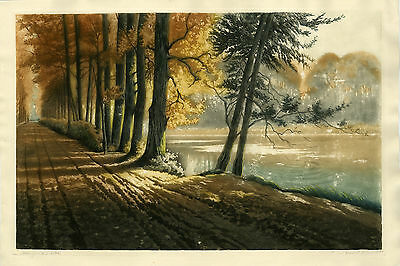 Antique Print-AUTUMN-LANDSCAPE-TREE-LAKE-Girardet-ca. 1910