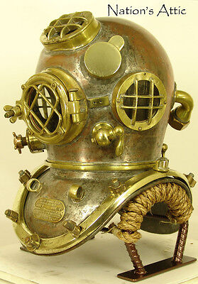 Custom Made Antique Diving Helmet Display Stand - Bullhead - Copper Vein Color