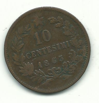 Very Nice Better Grade 1863 10 Centesimi Italy Coin-Vittorio Emanuele Ii-Dec682