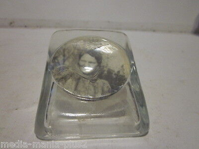 Vintage World War Ii Era Small Glass Picture Holder W/pic Dated 1943