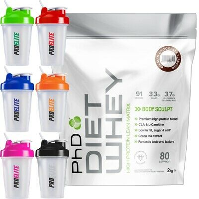 PhD Nutrition Diet Whey Protein 2Kg Weight Fat Loss All Flavours + Shaker 400ml