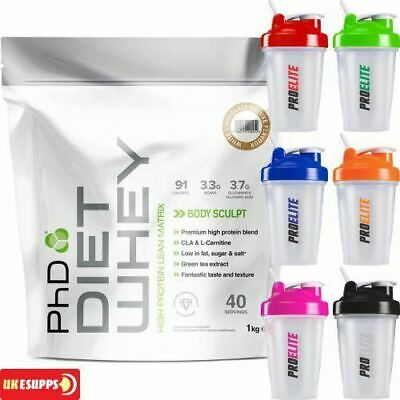 PhD Nutrition Diet Whey Protein 1Kg Lean Weight Loss All Flavours + Shaker 400ml