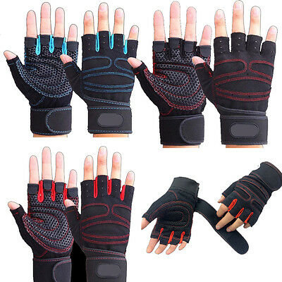 Black Training Gloves Leather Weight Training Fitness Gloves Bodybuilding