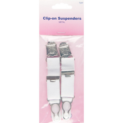 Hemline Metal Clip On Suspenders In White 1 Pair Adjustable Belt Straps
