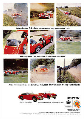 AUSTIN HEALEY 3000 RALLY CAR RETRO A3 POSTER PRINT FROM CLASSIC 60's ADVERT
