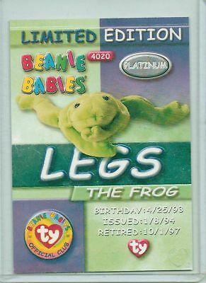 Ty Beanie PLATINUM EDITION LEGS THE FROG CARD ONLY 1999