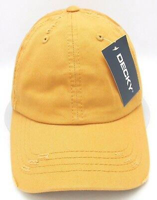ea21f15c44ab5 Distressed Unconstructed Cap DECKY Dad Hat Curved Visor Adjustable Mustard  NWT
