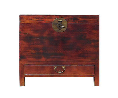 Chinese Brown Stain Moon Face Trunk Storage Chest cs1351