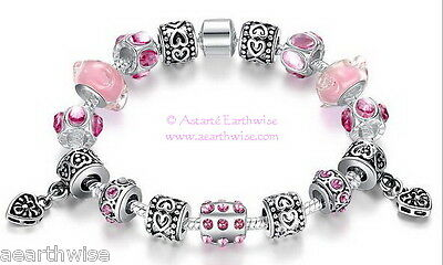 1 x SILVER CHARM BRACELET WITH PINK BEADS  Wicca Pagan Witch Goth Goddess