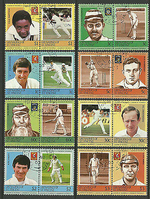 ST.VINCENT GRENADINES 1984 (1st) CRICKETERS Set 16 Values USED