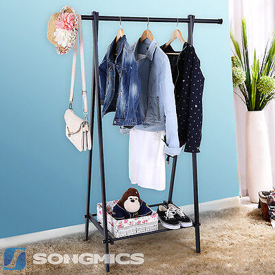 Songmics Clothes Clothing Hanging Rail Garment Rack for Heavy Duty with Shelves