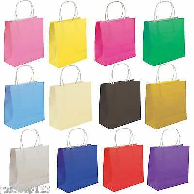 Party Gift Coloured Paper Bags Handles Wedding Birthday Christmas Shopping 10pk