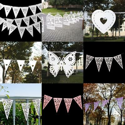 Wedding Engagement Party Decor Paper Birdcage Flags Heart Bunting Banner Garland