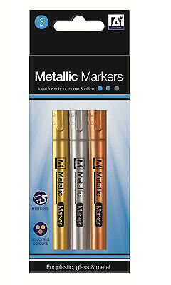 3 Metallic Marker Pens Gold Silver Bronze For Glass Plastic Metal Round Nib MEPE