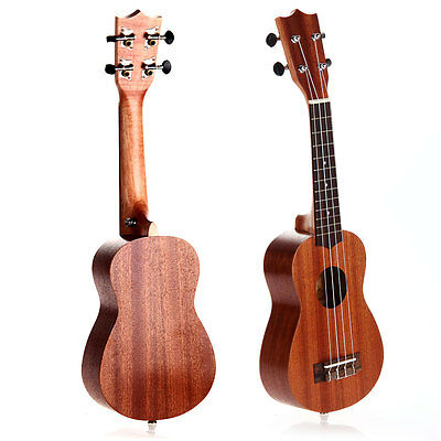 "21"" Inch Soprano Ukulele 15 Frets Hawaiian Wood Musical Instrument Brown"