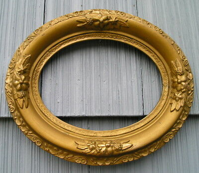 Antique Eastlake Victorian Very Ornate Gold Oval Picture Frame 6 1/2 x 8 1/2