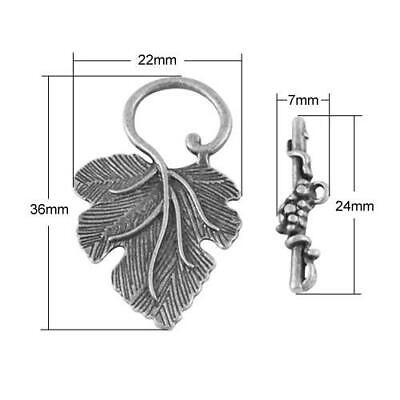 Packet 5 x Antique Silver Plated Metal Alloy Leaf & Toggle Clasps 24mm HA06295