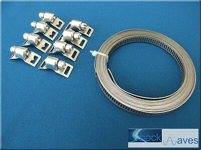 Stainless Steel Duct Pipe Hose Banding Band Cut Length + Clips Strap Strapping