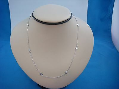 """0.90 Carat T.w. 7 Stations """"diamonds By The Yard"""" Necklace, 14K White Gold"""