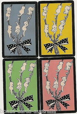 Swap Playing Cards 4 single Vintage Ribbon Cats Kittens