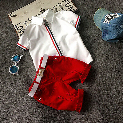 2pcs Toddler Baby Boys Kids T-Shirt Tops + Red Shorts Clothes Sport Outfits Set