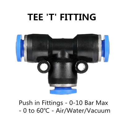 5pcs 8mm Nylon Pneumatic Tee Connector Push In Fitting Air/Water Hose Tube