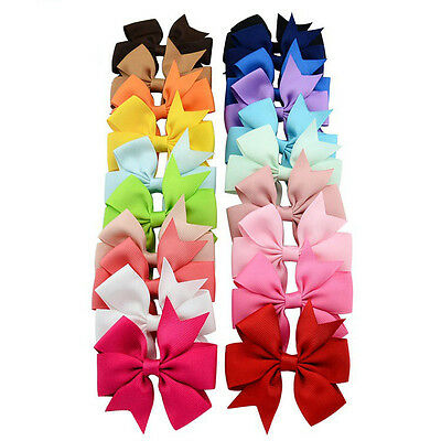 3 Inch Bow Girls Hair Bow Clip Slide Grip School Hairpins Grosgrain Ribbon