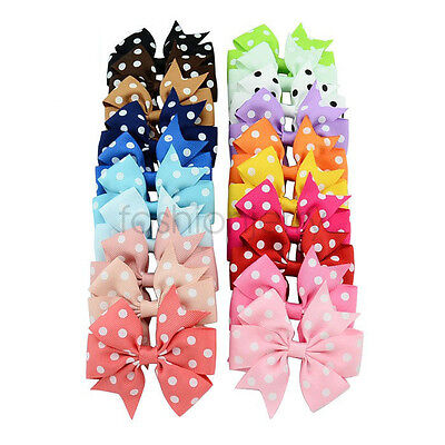 3'' Girls Hair Bow Dot Clip Headwear Hairpins Grosgrain Ribbon Headwear Child