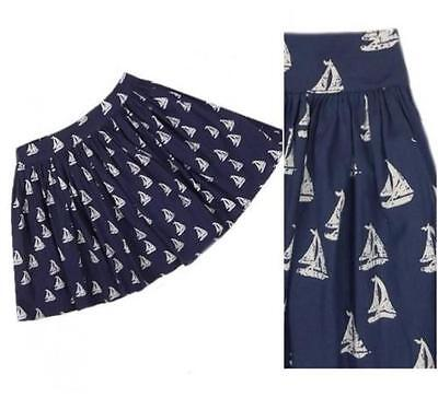 New NEXT Navy Blue White Sailing Boat Print Cotton  Full Skirt 3-4-5-6-7-8-9 yrs