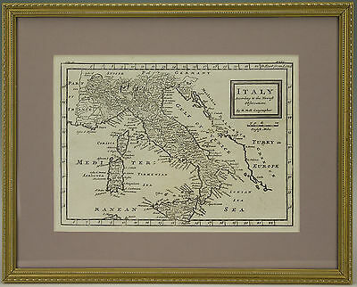 ANTIQUE 18thC FRAMED MAP OF ITALY BY HERMAN MOLL