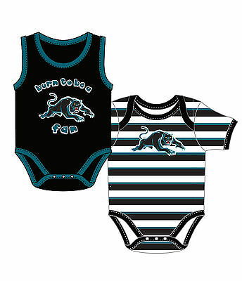 Penrith Panthers NRL 2 Short Sleeve Born to be a Fan Bodysuits Rompers size 0