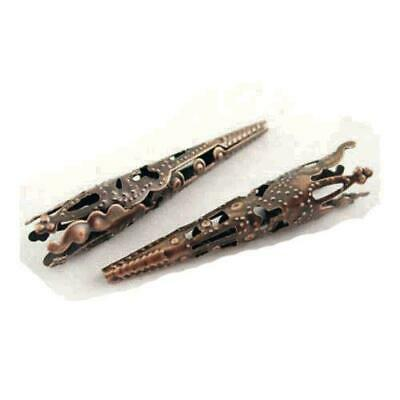 Packet 30 x Red Copper Plated Iron Filigree Cone End Caps 8 x 40mm HA01393
