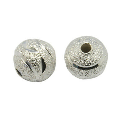 Pack Of 50 x Silver Plated Brass 8mm Carved Stardust Twinkle Round Beads HA06930