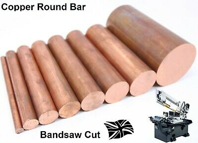 Copper ROUND bar Rod - 10 Diameters & 7 Lengths available C101 Milling Lathe