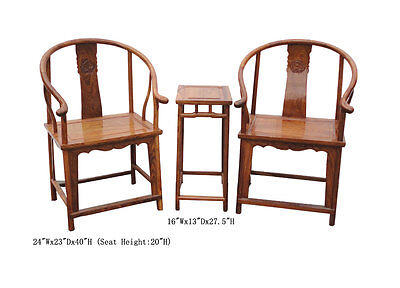 Pair Chinese Vintage Horseshoe Arm Chair Table Set WK2089