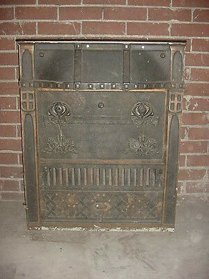 Beautiful Victorian 1800s Antique Bronze Over Cast Gas Fireplace Fire Box Insert