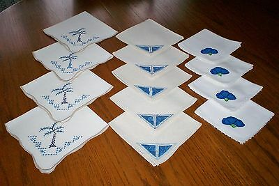 Lot of 13 Beautiful Hand Embroidered Vintage Napkins Laundered Pressed 3 Sets