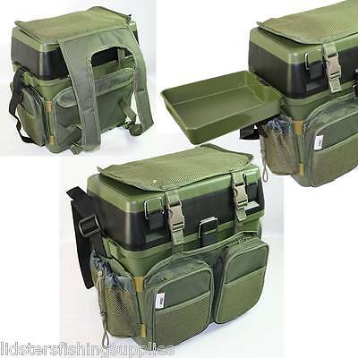 Green Seat Box With Rucksack And Tray For Carp Terminal Fishing Tackle Sea Ngt