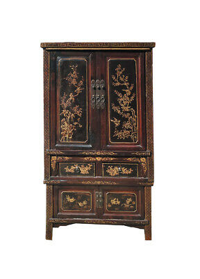 Chinese Antique Gold Flower Bird Painting Stack Armoire Storage Cabinet WK2344