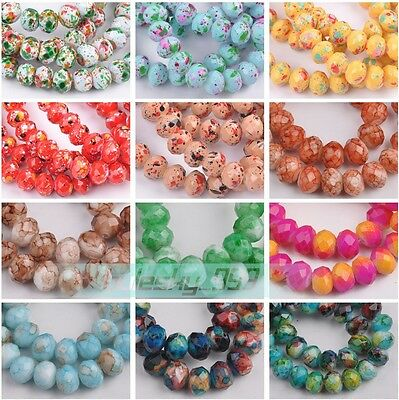 50pcs 8X6mm Rondelle Faceted Glass Charms Loose Spacer Beads Jewelry Findings