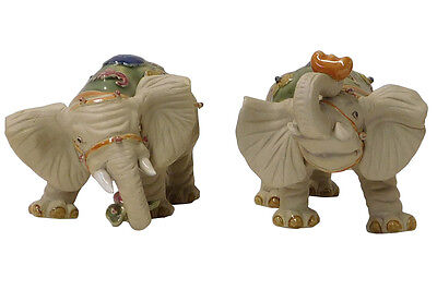 Chinese Pair Handmade Ceramic Ru Yi Ingot Elephant Figures cs1962