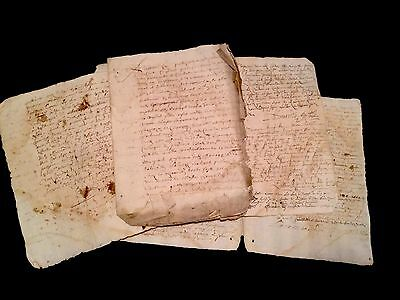 LOT OF FOUR OLD MANUSCRIPTS 1600s