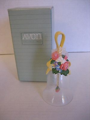 Vintage Avon Floral Bouquet Crystal Bell 1989 NIB 5 1/2 in.T Multi-Color Flowers