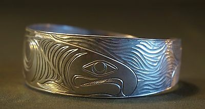 Large Native American Pacific NW BC Sterling Silver Bracelet King Salmon Brother