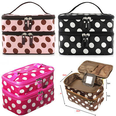 Womens Retro Dot Beauty Case MAKEUP Large Cosmetic Set Toiletry Jewellery Bags