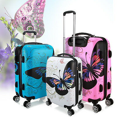 Unisex 4 Wheel Spinner Suitcase PC /ABS Luggage Trolley Case Cabin Carry On Hand