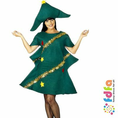 CHRISTMAS TREE TINSEL TUNIC & HAT adult ladies womens xmas fancy dress costume